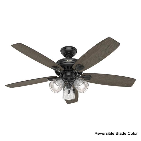 Hunter Highbury Ii 52 In Led Indoor Matte Black Ceiling Fan With Light Kit 52028 The Home Depot