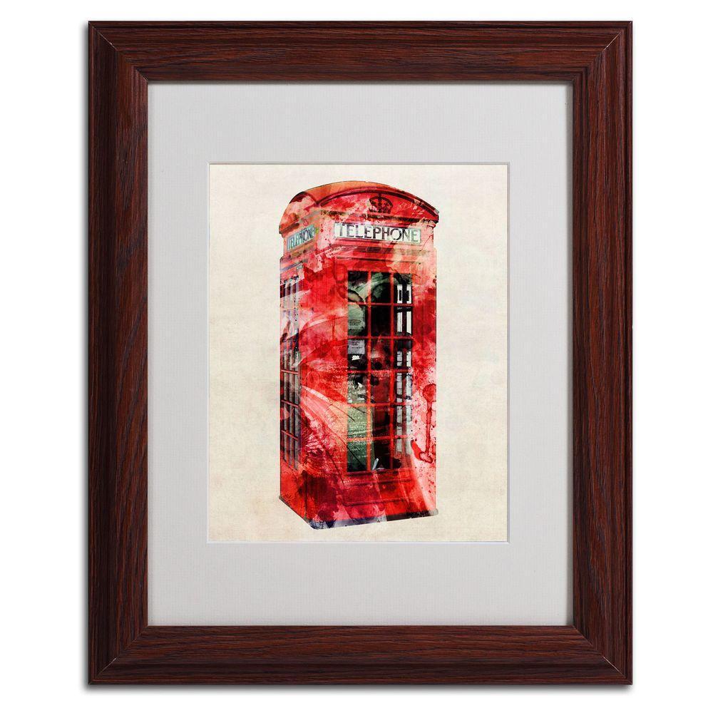 Trademark Fine Art 11 in. x 14 in. Telephone Box Matted Framed Art
