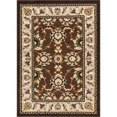 Dulcet Alana Traditional Oriental Floral Brown 8 ft. x 10 ft. Area Rug