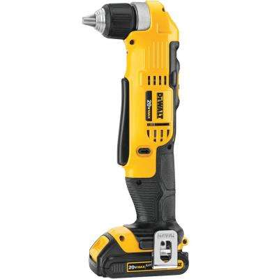 20-Volt MAX Lithium-Ion Cordless Compact Right Angle Drill Kit with Battery 1.5Ah, Charger and Bag