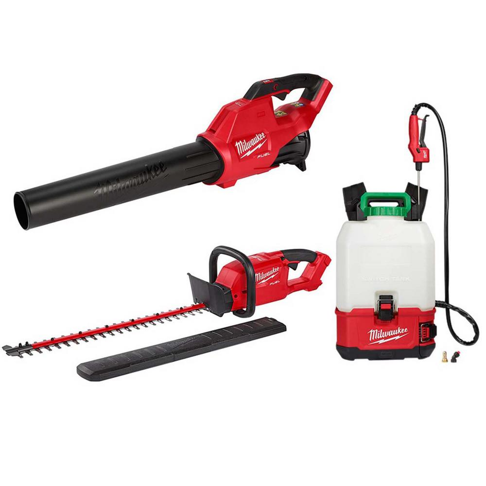 Milwaukee M18 FUEL 120 MPH 450 CFM 18-Volt Lithium-Ion Brushless Cordless Handheld Blower/Hedge Trimmer and Sprayer Kit