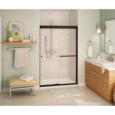 Aura SC 47 in. x 71 in. Semi-Frameless Sliding Shower Door in Dark Bronze