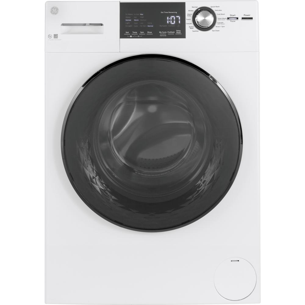 GE 2 4 cu  ft  High-Efficiency Stackable White Front Loading Washing  Machine with Steam, ENERGY STAR
