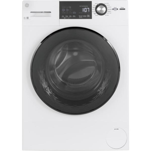 GE 2.4 cu. ft. High-Efficiency Stackable White Front Loading Washing Machine with Steam, ENERGY STAR