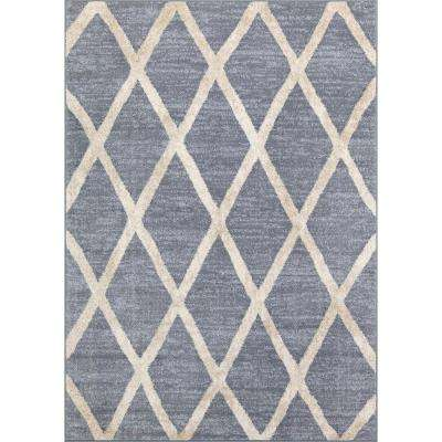 Light Navy Diamond 5 ft. x 7 ft. Indoor Area Rug