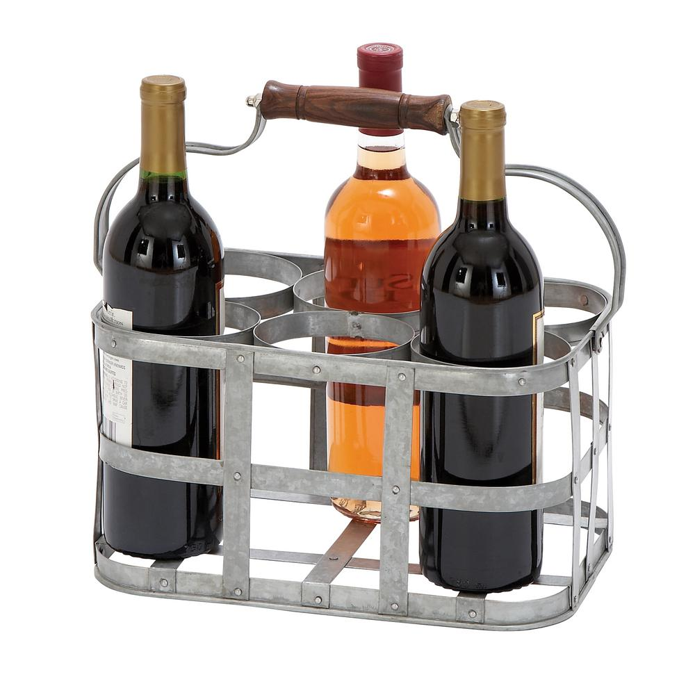 6-Bottle Gray Metal Wine Holder With Wooden Handle
