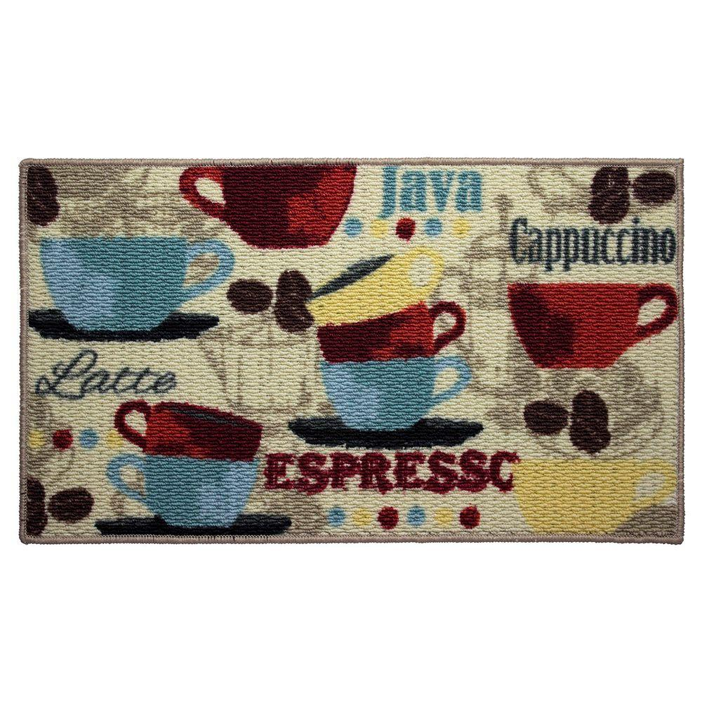 Coffee 18 in. x 30 in. Textured Oblong Accent Kitchen Rug
