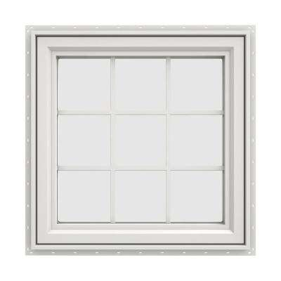 35.5 in. x 35.5 in. V-4500 Series White Vinyl Right-Handed Casement Window with Colonial Grids/Grilles