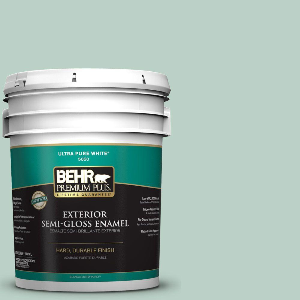 BEHR Premium Plus 5-gal. #S420-2 Moon Glass Semi-Gloss Enamel Exterior Paint