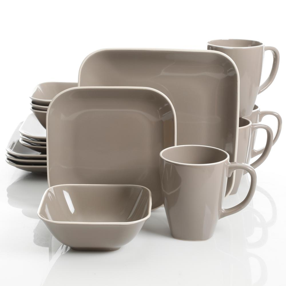 Gibson Home Square Dance 16 Piece Gray Dinnerware Set 124020 16rm The Depot