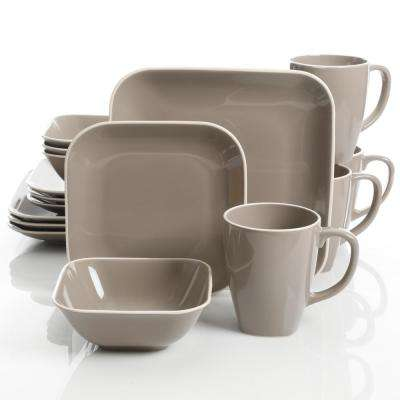 Square Dance 16-Piece Gray Square Dinnerware Set