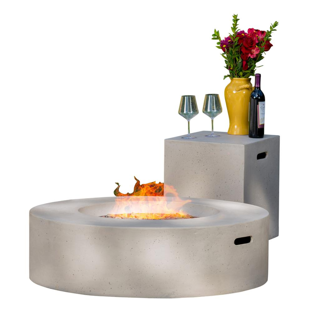 Noble House Aidan 39 in. x 11.47 in. Round MGO Gas Fire Pit Table in Light Grey 50,000 BTU with Tank Holder
