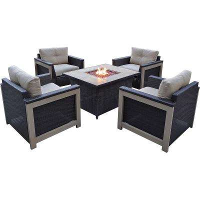 00Montana 5-Piece Wicker Patio Fire Pit Conversation Set with Faux Wood Grain-Top Fire Pit with Natural Oat Cushions