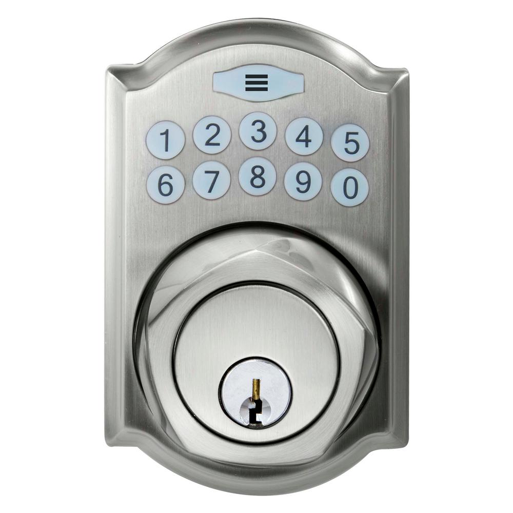 Single Cylinder Satin Nickel Castle Spin-To-Lock Electronic Deadbolt