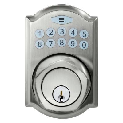 Defiant Single Cylinder Satin Nickel Castle Electronic Deadbolt