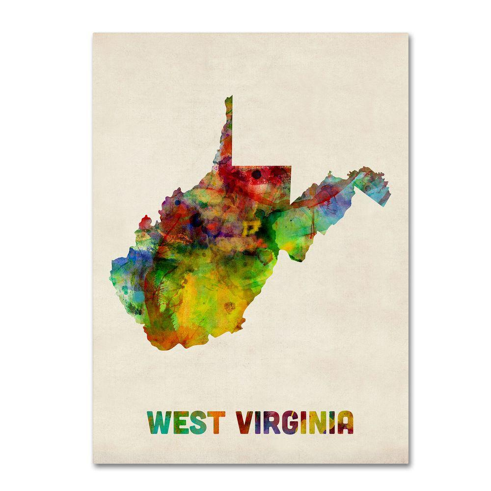 18 in. x 24 in. West Virginia Map Canvas Art