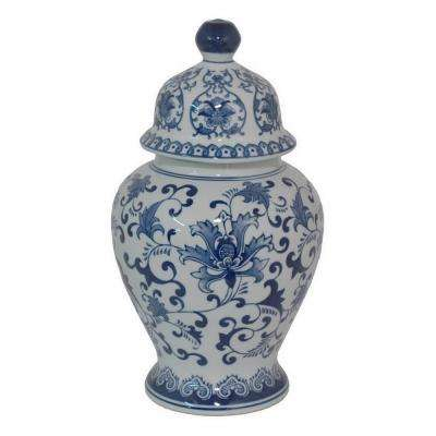 14.5 in. Blue and White Ceramic Temple Jar