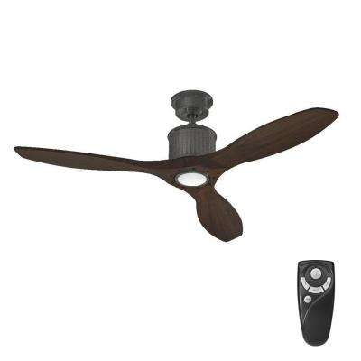Reagan II 52 in. LED Natural Iron Ceiling Fan with Light Kit and Remote Control