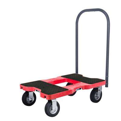 1,500 lbs. Capacity Professional Air-Ride Push Cart E-Track Dolly in Red