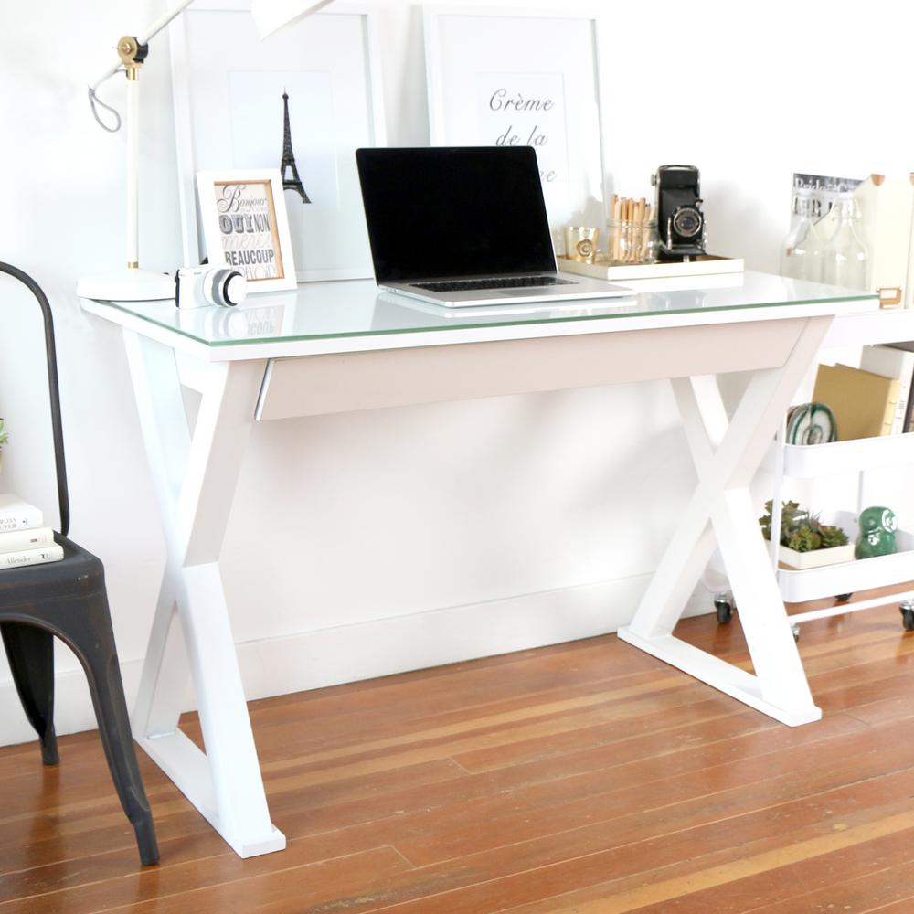 Ordinaire Walker Edison Furniture Company Home Office 48 In. Glass And Metal White Computer  Desk