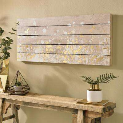 "40 in. x 16 in. ""Metallic Wood Meadow"" Printed Wooden Wall Art"