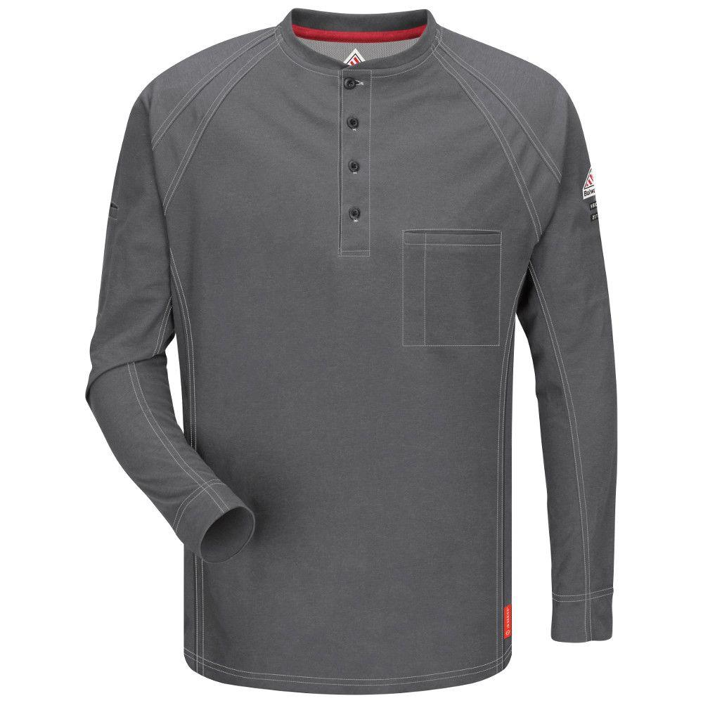 iQ Men's RG Large Charcoal Long Sleeve Henley