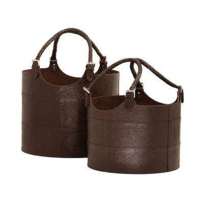 Espresso Leather Nested Decorative Baskets (Set of 2)