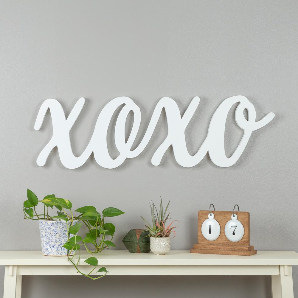 Script XOXO White Wood Decorative Sign