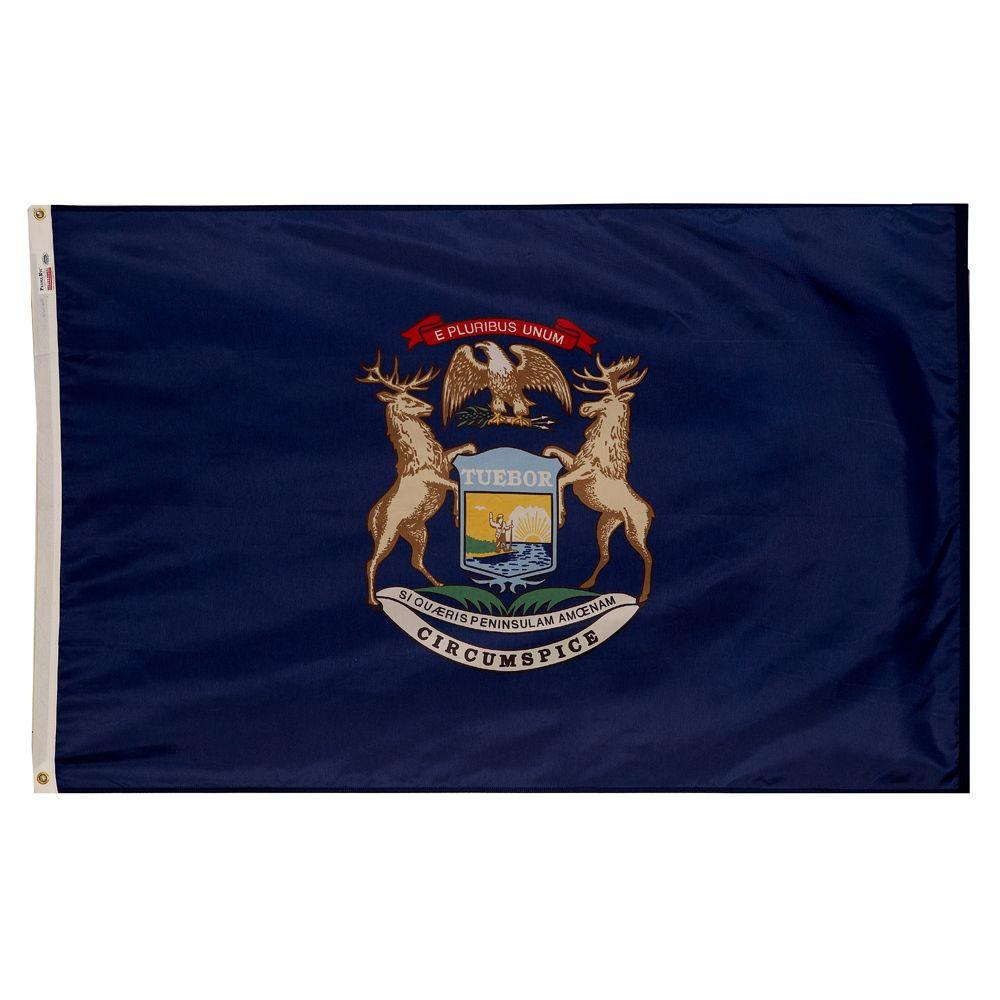 Valley Forge Flag 3 ft. x 5 ft. Nylon Michigan State Flag