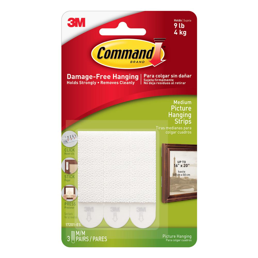 Command White 3 Lbs Medium Picture Hanging Strips 3 Sets Of