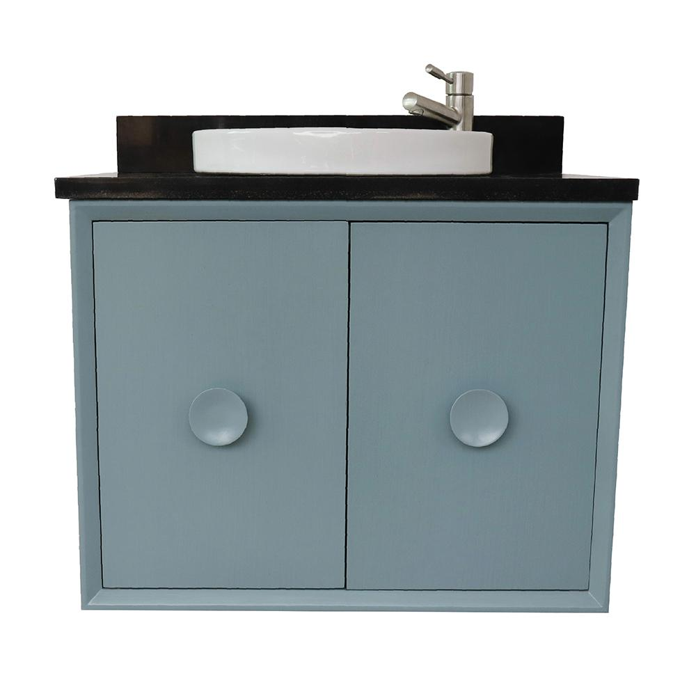 Bellaterra Home Stora 31 in. W x 22 in. D Wall Mount Bath Vanity in Aqua Blue with Granite Vanity Top in Black with White Round Basin