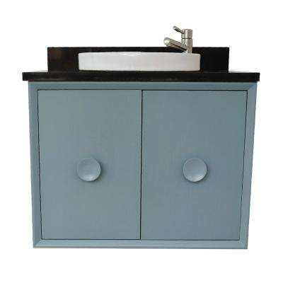 Stora 31 in. W x 22 in. D Wall Mount Bath Vanity in Aqua Blue with Granite Vanity Top in Black with White Round Basin