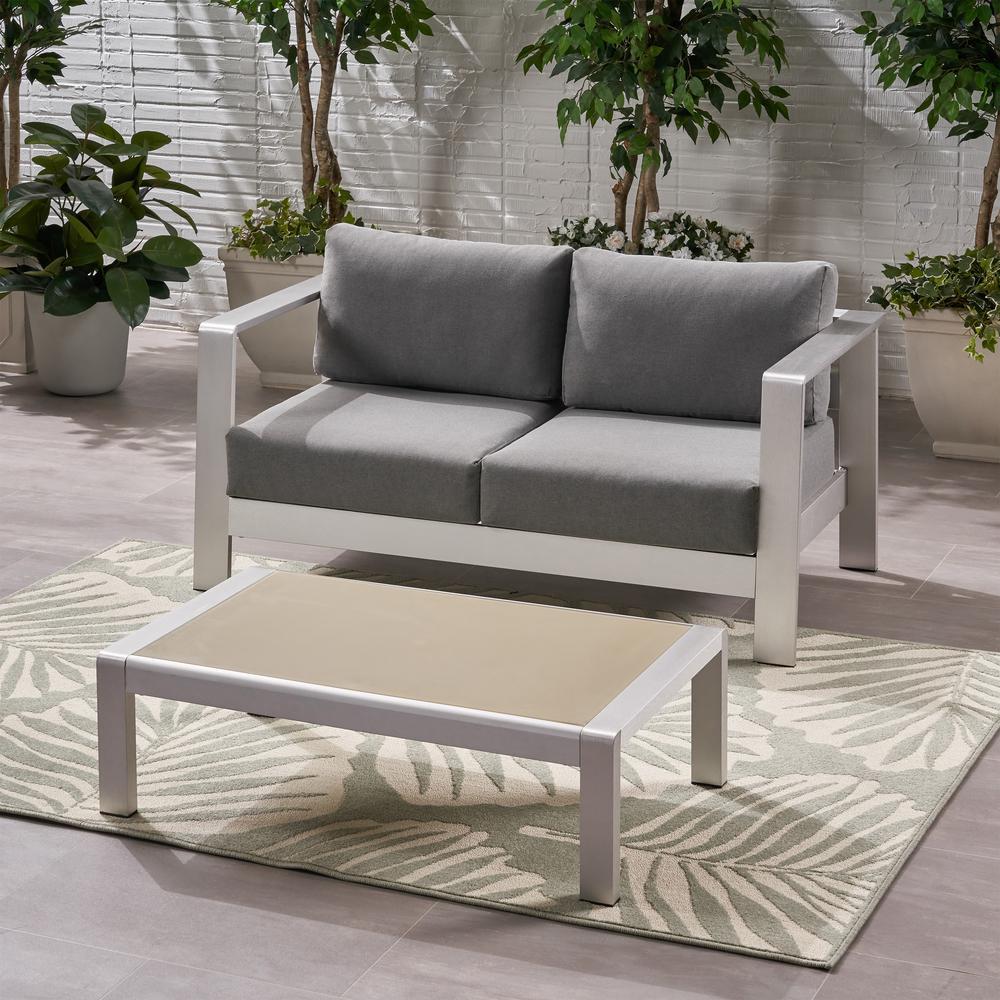 Bayport Silver 2-Piece Aluminum Patio Conversation Set with Grey Cushions
