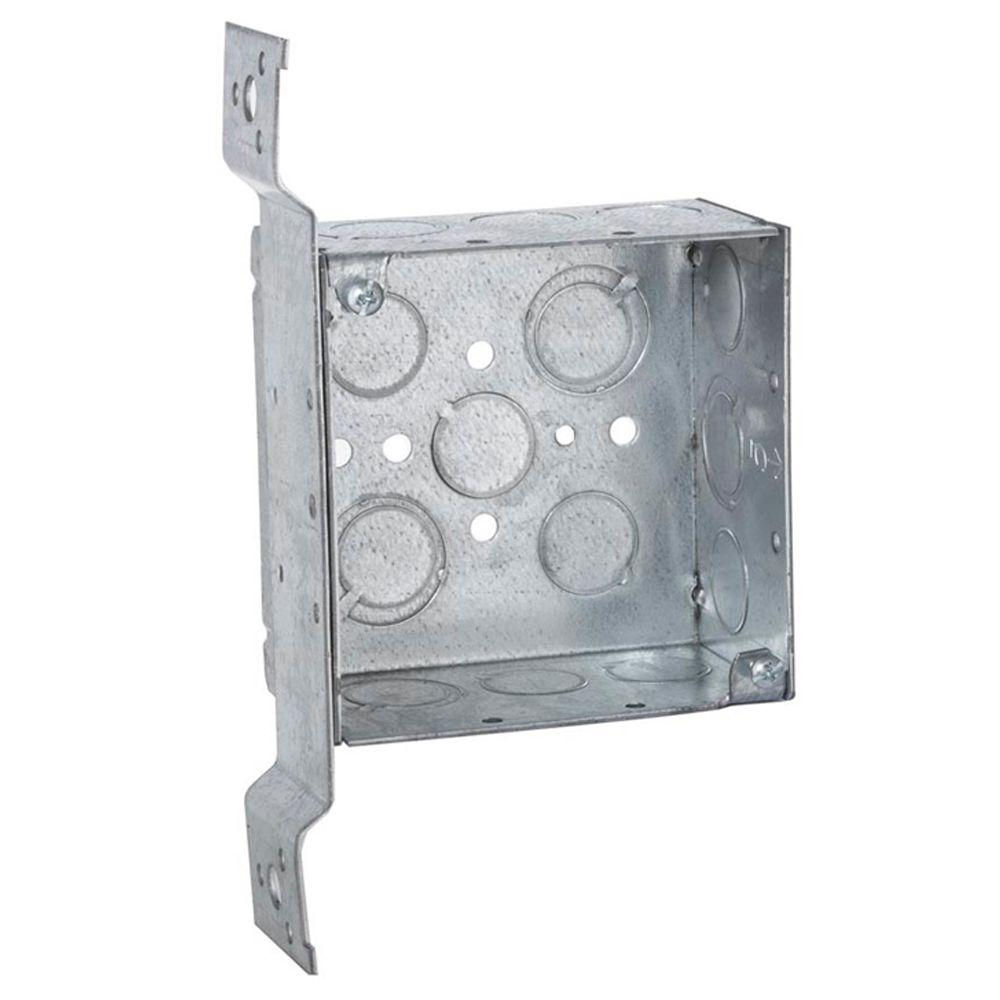 4 in. Square Box, Welded, 2-1/8 in. Deep with 1/2 in.