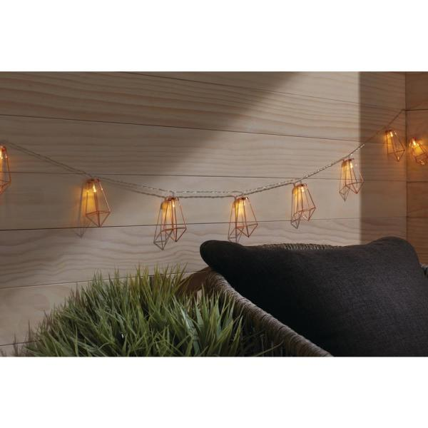 12 ft. 10-Light Battery Operated  Metal Indoor Integrated LED String Lights