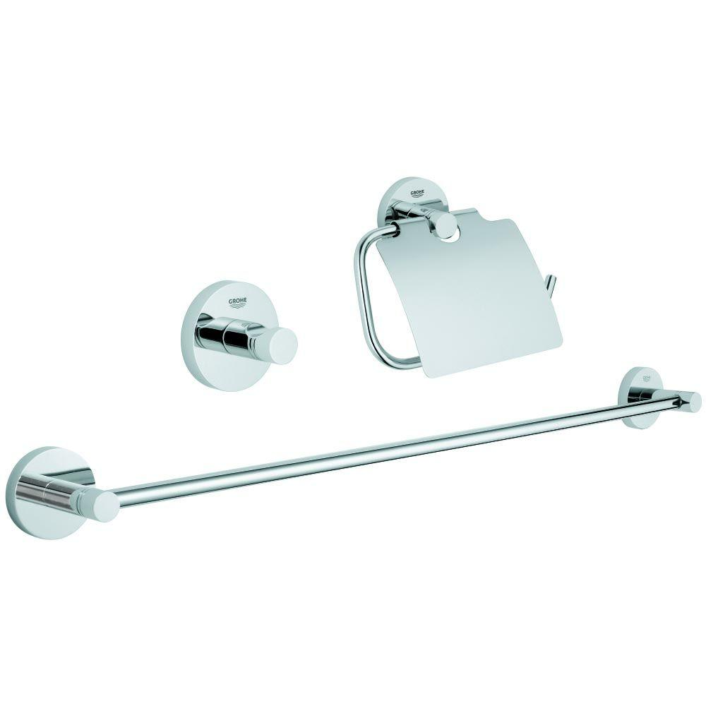 Grohe Essentials Guest Bathroom 3 Piece Bath Hardware Set In Starlight Chrome
