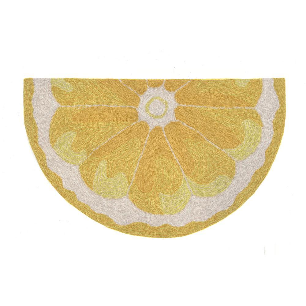 Woodside Yellow Tart Yellow 1 ft. 8 in. x 2 ft. 6 in. Semicircle Indoor/Outdoor Accent Rug