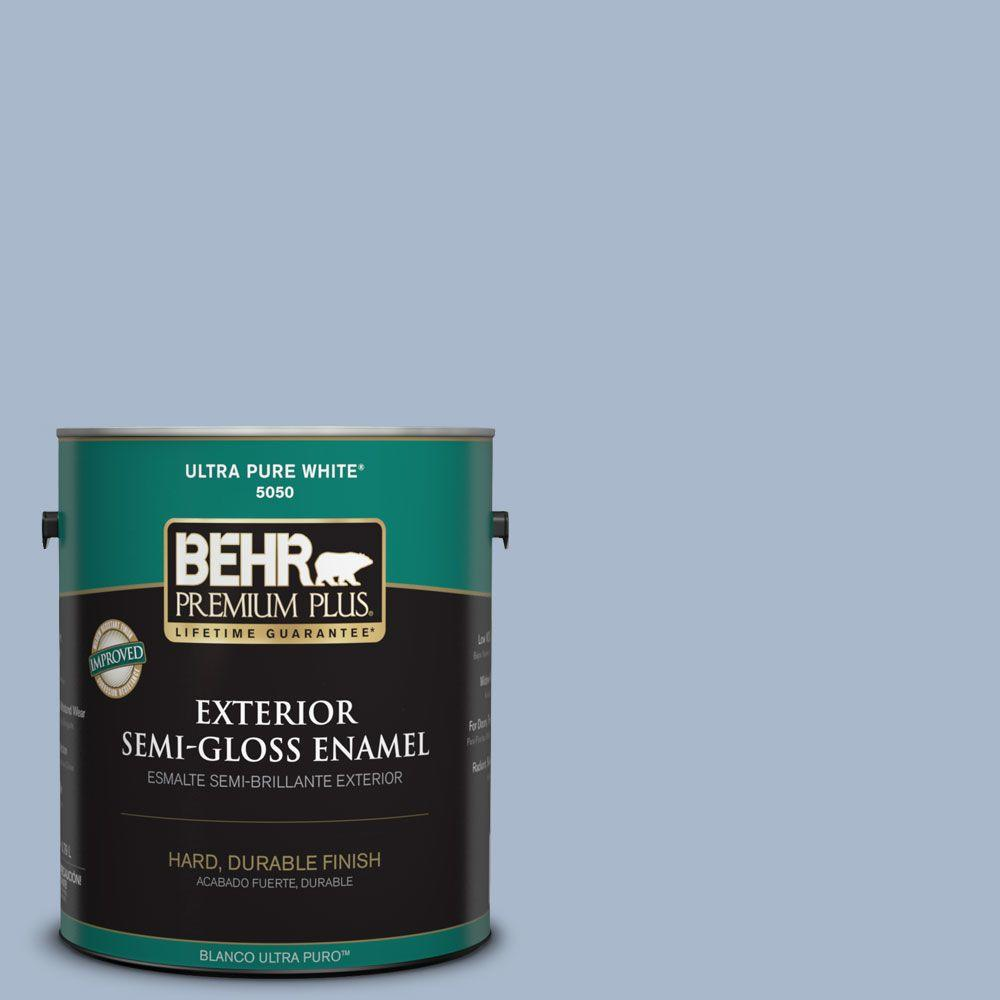 BEHR Premium Plus 1-gal. #HDC-SP14-10 Blue Tribute Semi-Gloss Enamel Exterior Paint