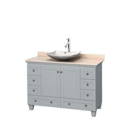 Acclaim 48 in. W x 22 in. D Vanity in Oyster Gray with Marble Vanity Top in Ivory with White Basin