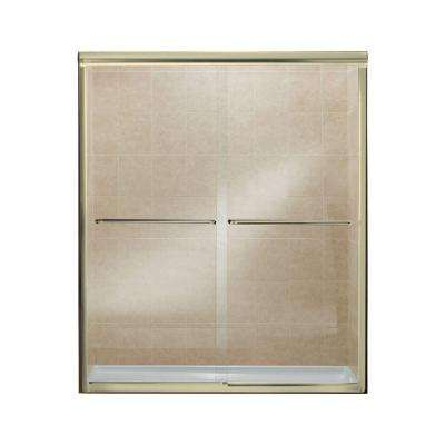 Finesse 59-5/8 in. x 70-1/16 in. Semi-Frameless Sliding Shower Door in Polished Brass with Handle