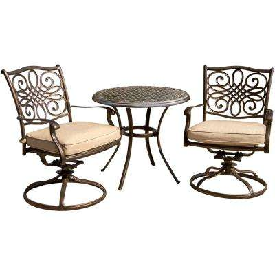 Seasons 3-Piece Aluminum Outdoor Bistro Set with Swivel Rockers, Table with Tan Cushions