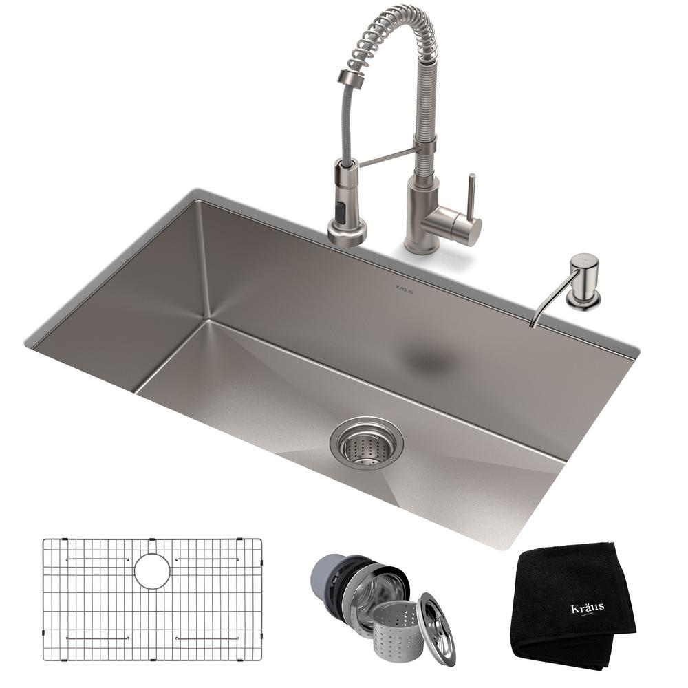 KRAUS Standart PRO All-in-One Undermount Stainless Steel 32 in. Single Bowl  Kitchen Sink with Faucet in Stainless Steel