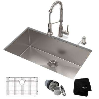 Standart PRO All-in-One Undermount Stainless Steel 32 in. Single Bowl Kitchen Sink with Faucet in Stainless Steel
