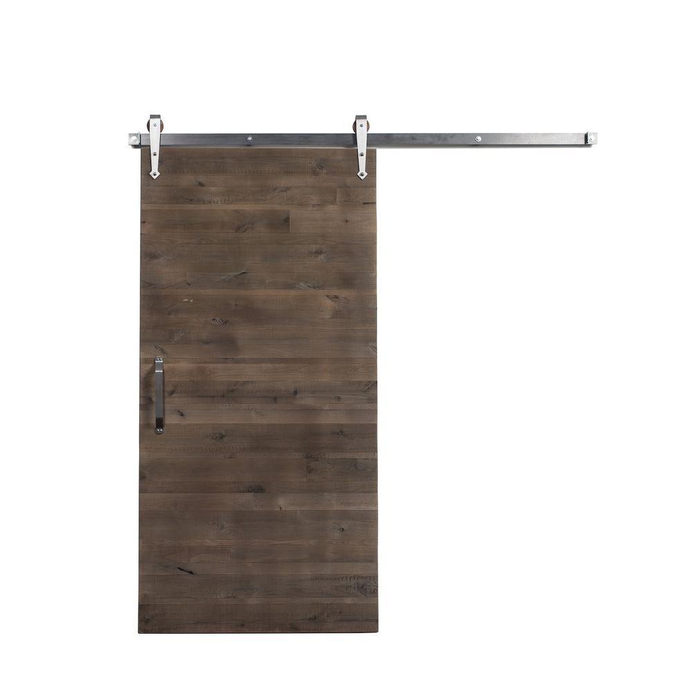 42 in. x 84 in. Reclaimed Home Depot Gray Wood Barn Door with Arrow Sliding Door Hardware Kit