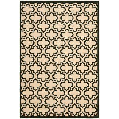 Courtyard Cream Black 8 Ft X 10 Indoor Outdoor Rectangle Area