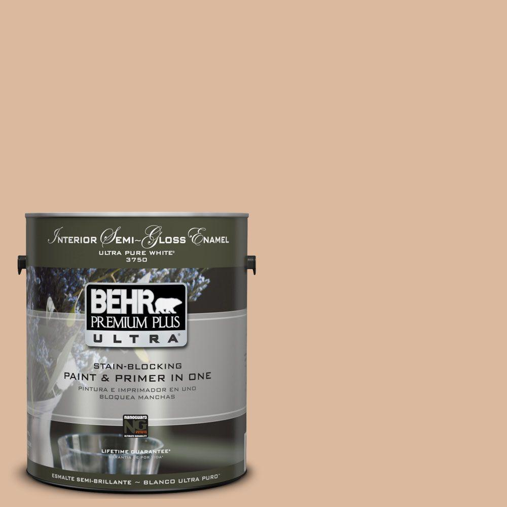 BEHR Premium Plus Ultra 1-gal. #UL130-9 Pumpkin Cream Interior Semi-Gloss Enamel Paint