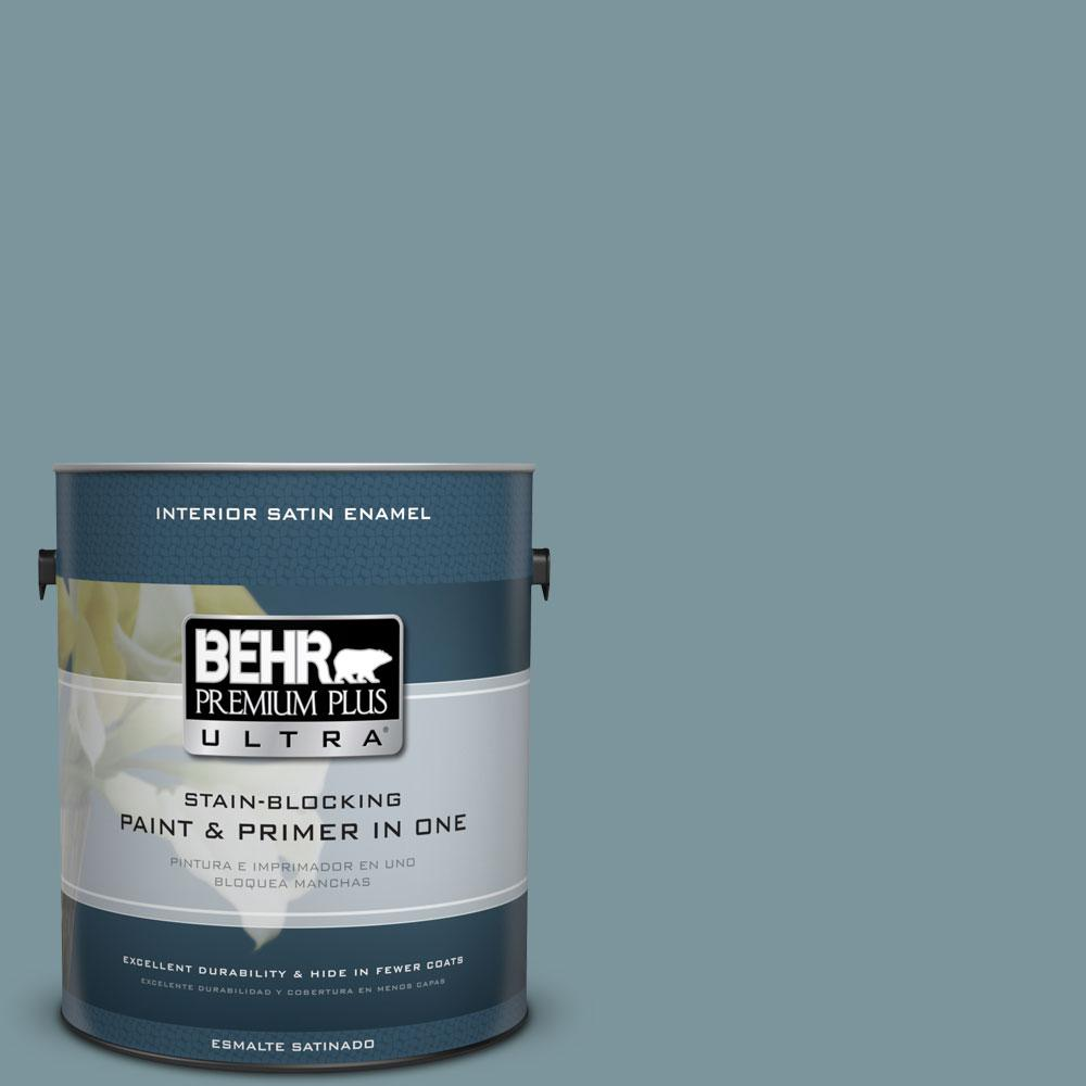 BEHR Premium Plus Ultra 1-gal. #ECC-56-3 Lake View Satin Enamel Interior Paint