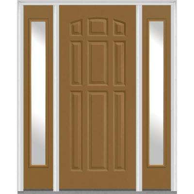 64 in. x 80 in. Right Hand Inswing 9-Panel Painted Fiberglass Smooth Prehung Front Door with Sidelites