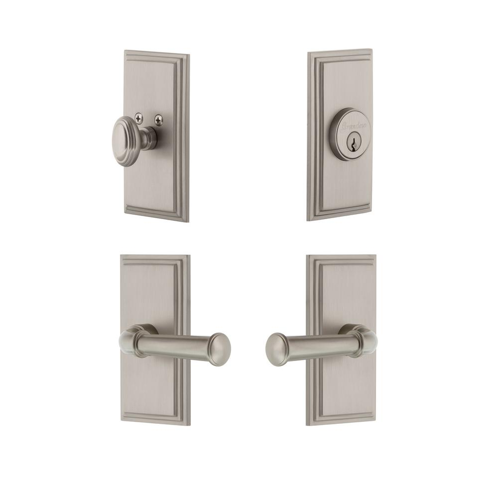Carre Plate 2-3/8 in. Backset Satin Nickel Georgetown Door Lever with