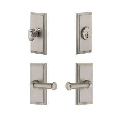 Carre Plate 2-3/8 in. Backset Satin Nickel Georgetown Door Lever with Single Cylinder Deadbolt